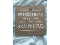 Friendship wooden plaque