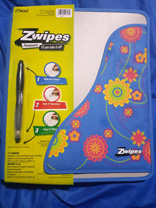 Zwipes 1-1/2 Inch Zipper Binder With Re-writeable