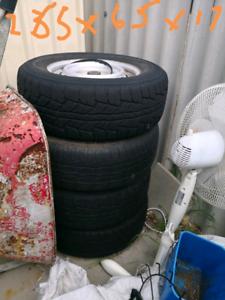 4x Pajero Steel Rims and Tyres 265/65/17