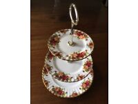 Three tier Royal Albert Bone China Old Country Roses Cake Stand