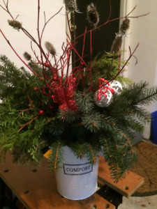 Christmas Urn with Red Butterfly