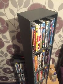 Grey leather DVDs holder stand