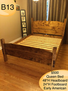 SOLID WOOD QUEEN BED W/ HEADBOARD, FOOTBOARD, RAILS AND SLATS Kingston Kingston Area image 7