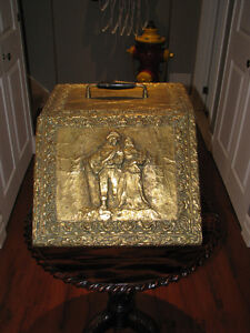 Antique Embossed Brass Victorian Coal / Scuttle / Hod Box