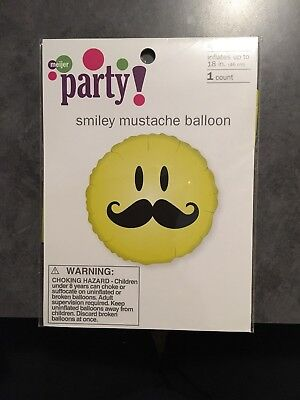 Smiley Face Foil Balloon - Smiley Face Mustache Foil Mylar Balloon 18