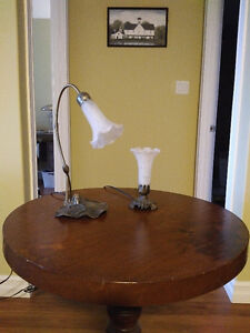 Antique-style floral table lamps