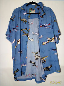 Vintage Paradise Found Hawaiian floral t shirt casual airplanes