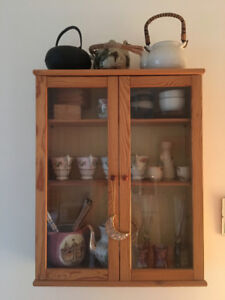 IKEA pine table and matching display cabinet