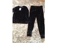 BLACK VELOUR VELVET LOUNGE SUIT