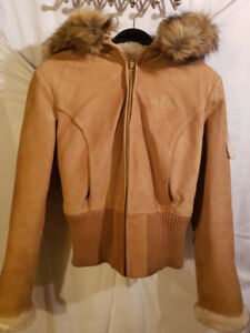 BRAND NEW W/ OUT TAGS Suede Baby Phat bomber jacket with hood!!