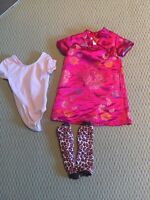 Ballet body suit, leopard leg warmers, Asian style dress