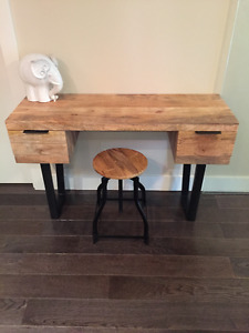 Trendy wooden office table and stool $375