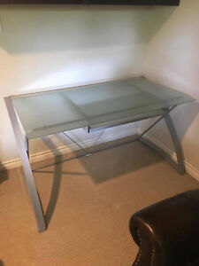 Beautiful frosted glass computer desk