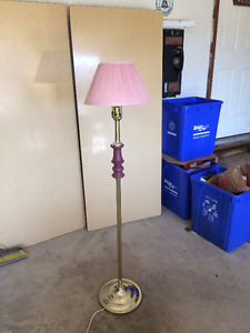 Brass floor lamp with burgundy/pink accents