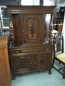 Solid OAK Baroque Styled Storage CUPBOARD Cabinet Carved Door