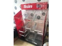 2 x NEWSPAPER STANDS (one is the Sun stand) FOR SHOP / OFF LICENSE / CONVENIENCE STORE / NEWS SHOP