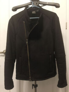 100% Authentic Men Armani Exchange Black Leather Jacket
