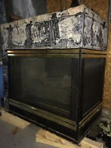 3 side gas fireplace