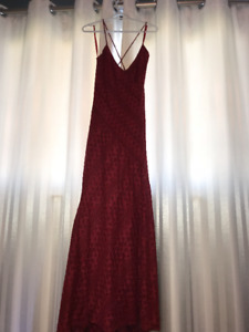 Red Crochet Fit and Flare Dress, Size Large