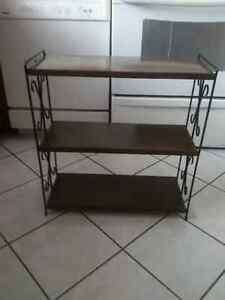 Metal Stand,Black With Wood Grain Finish