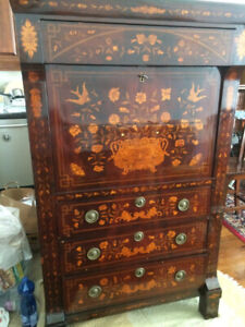 MARQUETRY / INLAYED  ANTIQUE SECRETARY / DRESSER - ANTIQUE