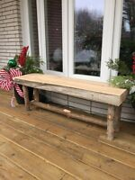 Rustic wood bench with live edge plank