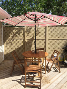 Outdoor furniture set- Table, 4 chairs, umbrella