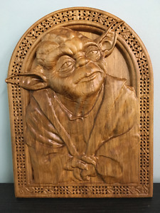 Star Wars Yoda Cribbage Board carved out of solid maple wood.