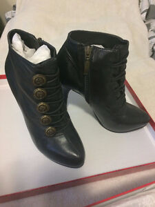 GUESS Black Ankle Booties w/ Military-style Buttons $70