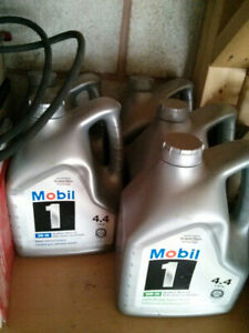 Mobil 1 synthetic oil 5w-30 and 10w-30. 4.4 litre New