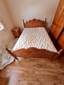 Solid pinewood double bed frame and mattress £89