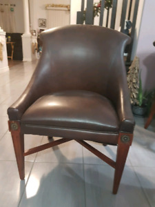 Brown leather accent chairs