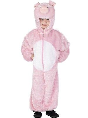 KIDS PIG FANCY DRESS COSTUME BABE PINK GIRLS BOYS CHILDRENS FARM ANIMAL OUTFIT ()