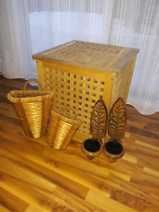 STORAGE CUBE / WICKER BASKETS / WALL MOUNTED CANDLE HOLDERS