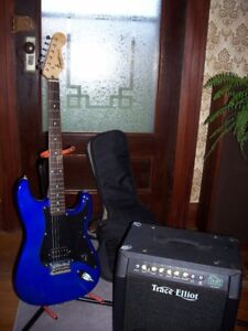 Fender Squire Bullet guitar and Trace Elliott Amp