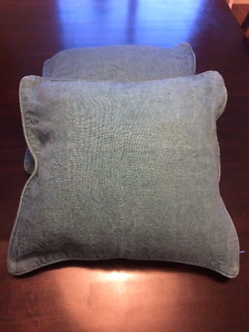 Crate and Barrel blue cushion covers and down cushion inserts