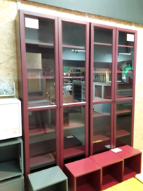*2 Available* BILLY Bookcase with glassdoors, dark red, IKEA Exeter AS-IS, Was £150 #BargainCorner