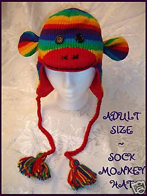 NWT deLux RAINBOW SOCK MONKEY HAT knit LINED costume  ADULT fruit stripe - Adult Sock Monkey Hat