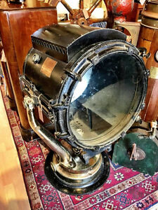 US Navy Large Brass and Copper Searchlight. 1920 Carlisle and Fi