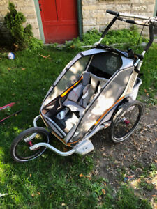 Chariot Double Stroller with Cross Country and Bike accessories