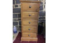 Drawer Unit, 5 drawers, Pine.