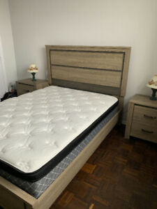 Queen bed set with two night stands