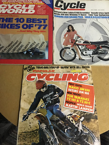 motorcycle magsazines, dirt and road bikes 1960s and 1970s
