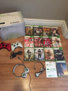 Xbox 360 (60gb) 2 Controllers 2 Headsets 13 Games and MS Points