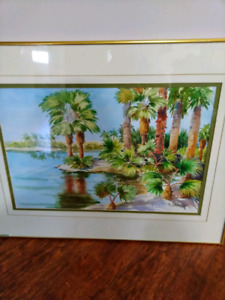 Large water colour painting with frame