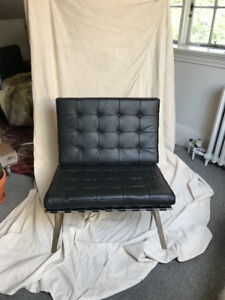 New Black Leather Barcelona Chair