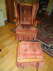 Solid Maple wingback glider chair and glider footstool