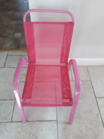 Pink Metal Framed Childs Chair