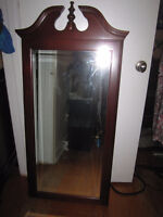 TWO (2) XL LARGE SOLID WOOD FRAMED BEVELED MIRRORS WITH FINIALS.