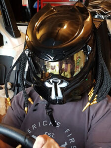 NEW BLACK CUSTOM PREDATOR MOTORCYCLE HELMET